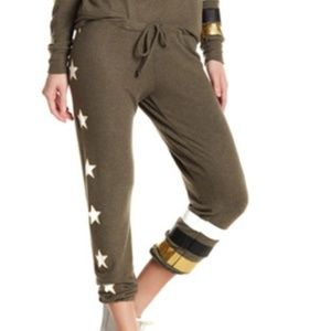Chaser olive army peace star stripe jogger pants